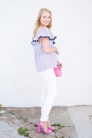 Blue-and-White-Off-the-Shoulder-Top