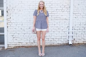 Shein gingham bow top