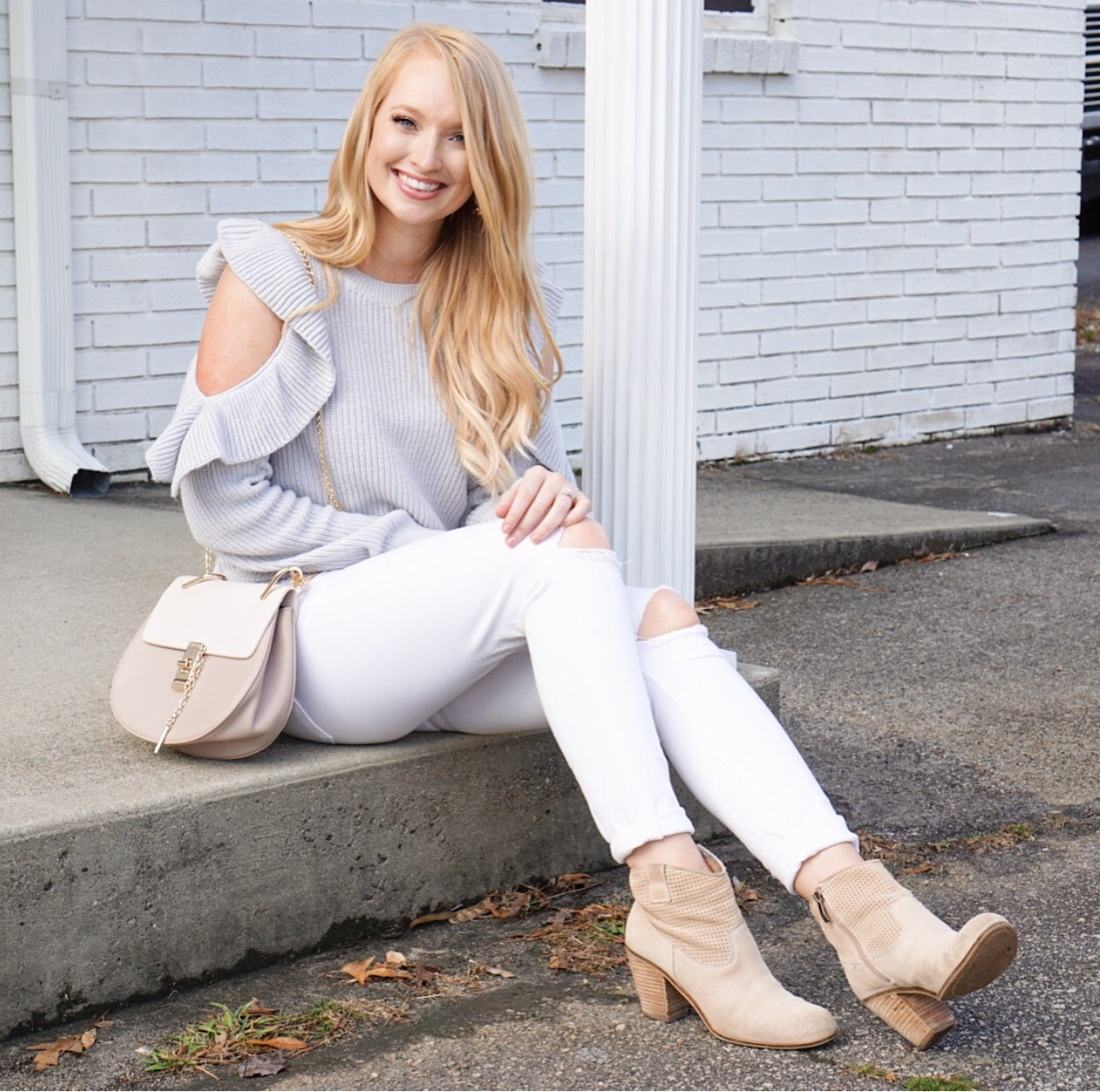 instagram outfits, ruffle cold shoulder sweater