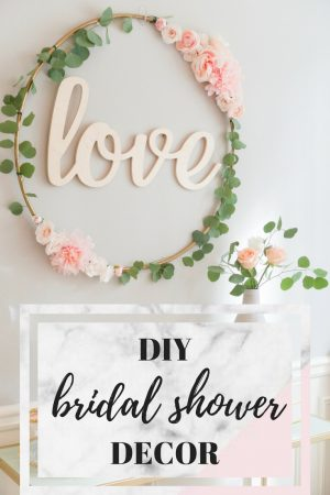 diy bridal shower decor, blush and gold bridal shower, DIY love sign, DIY hula hoop love sign