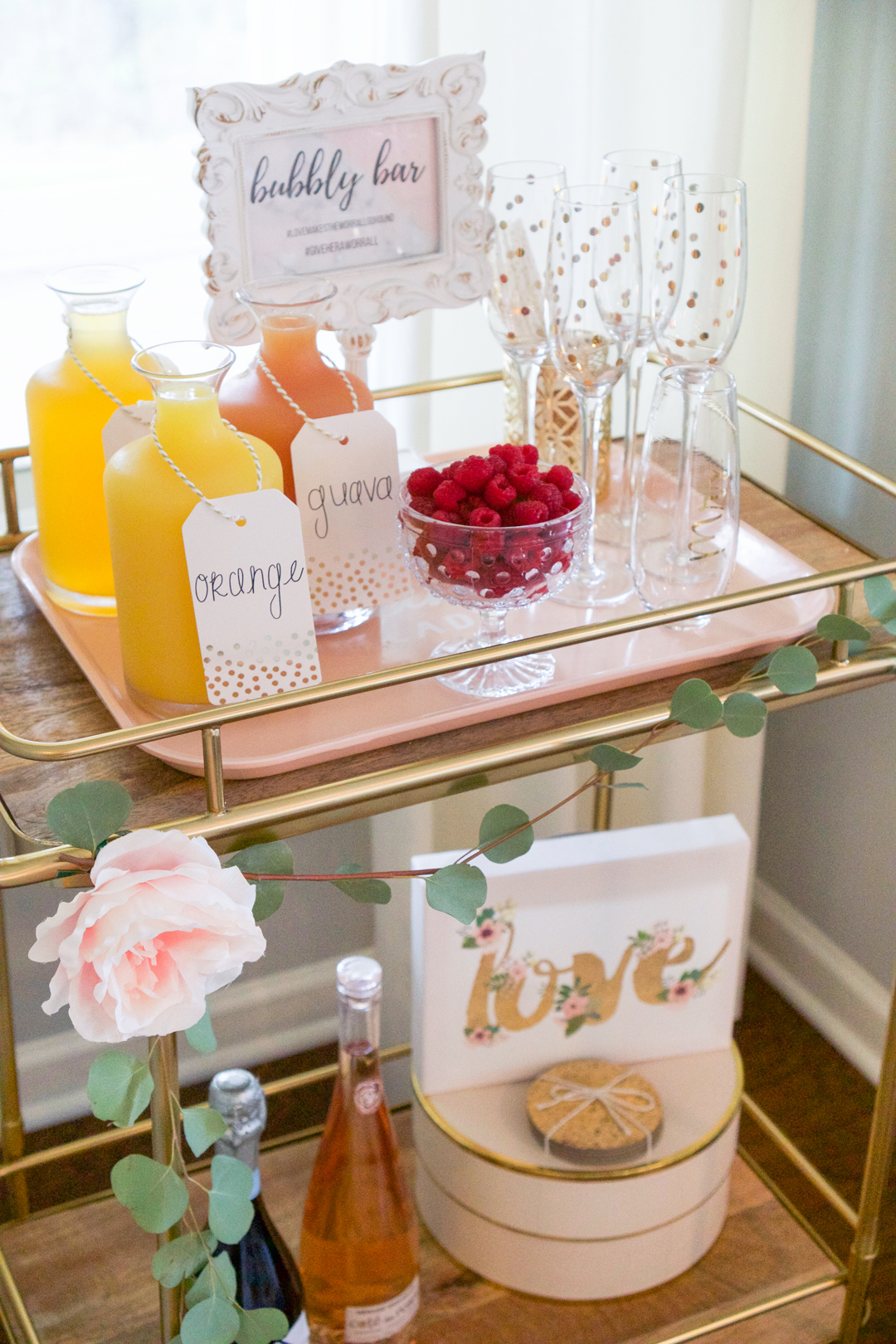 bridal-shower-mimiosa-bar, bridal-shower,bar-cart
