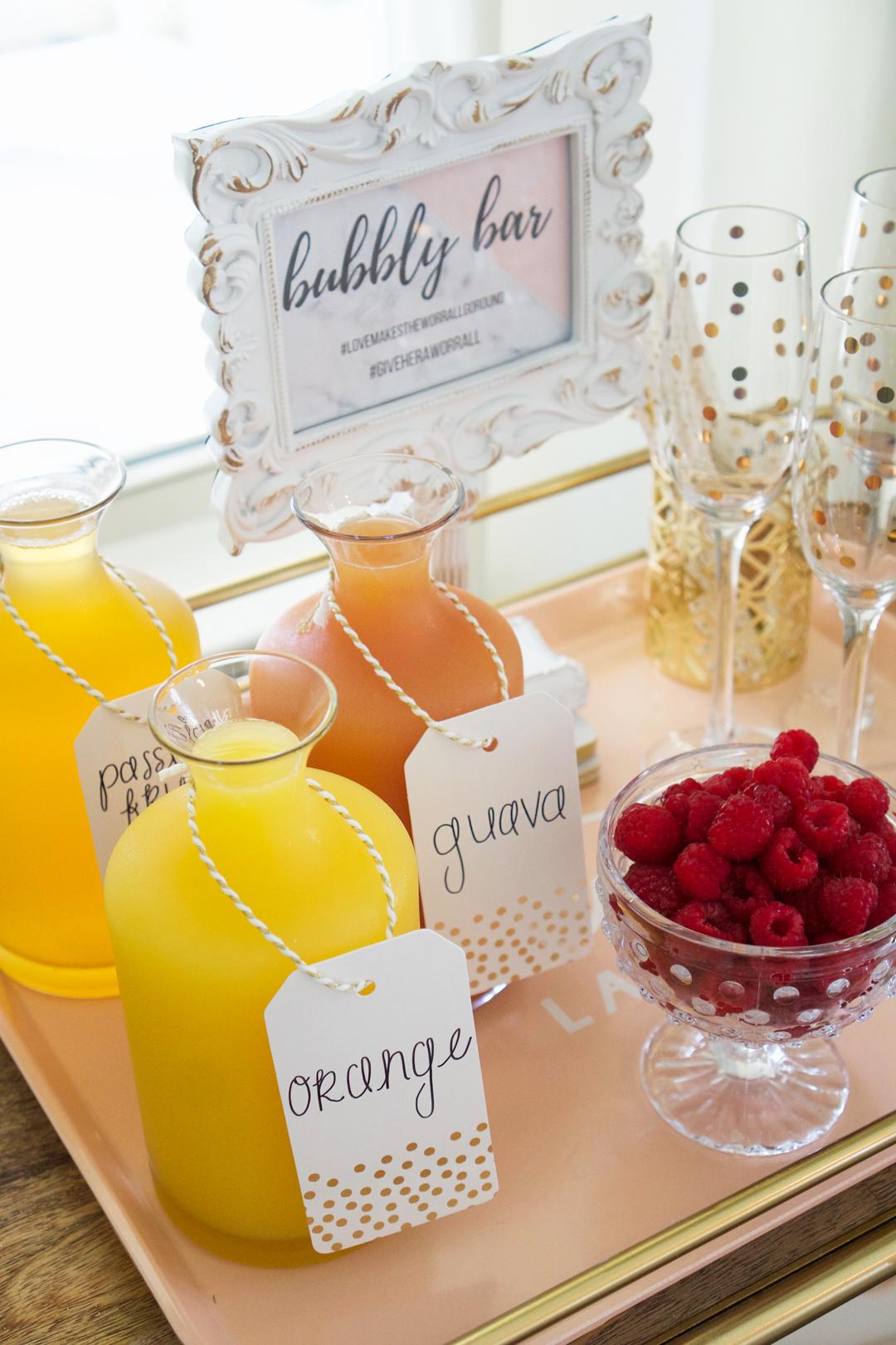 bridal shower bar cart, bridal shower mimosa bar, self serve mimosas