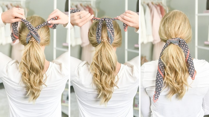 how-to-ponytail-scarf-strawberry-chic