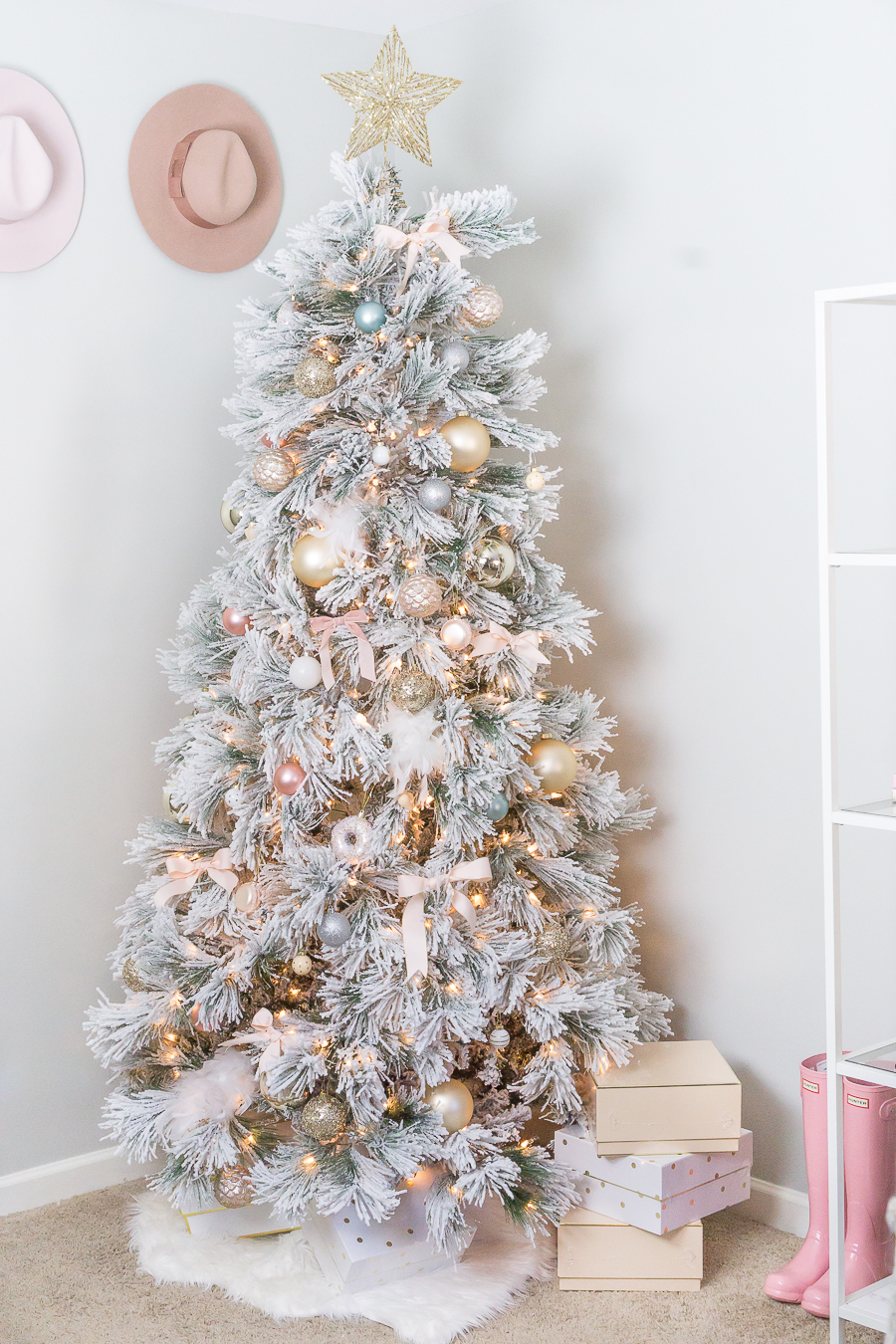 Blush And Gold Feminine Christmas Tree Strawberry Chic