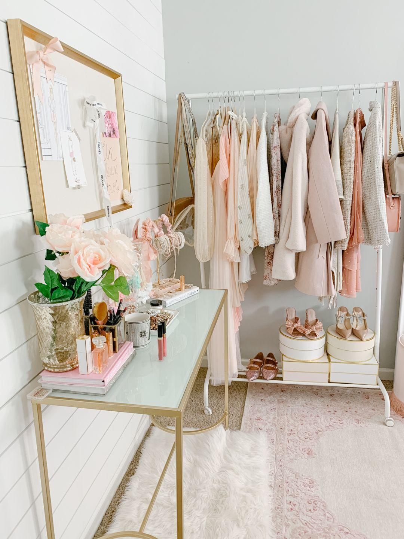 feminine office decor | blush and gold office tour