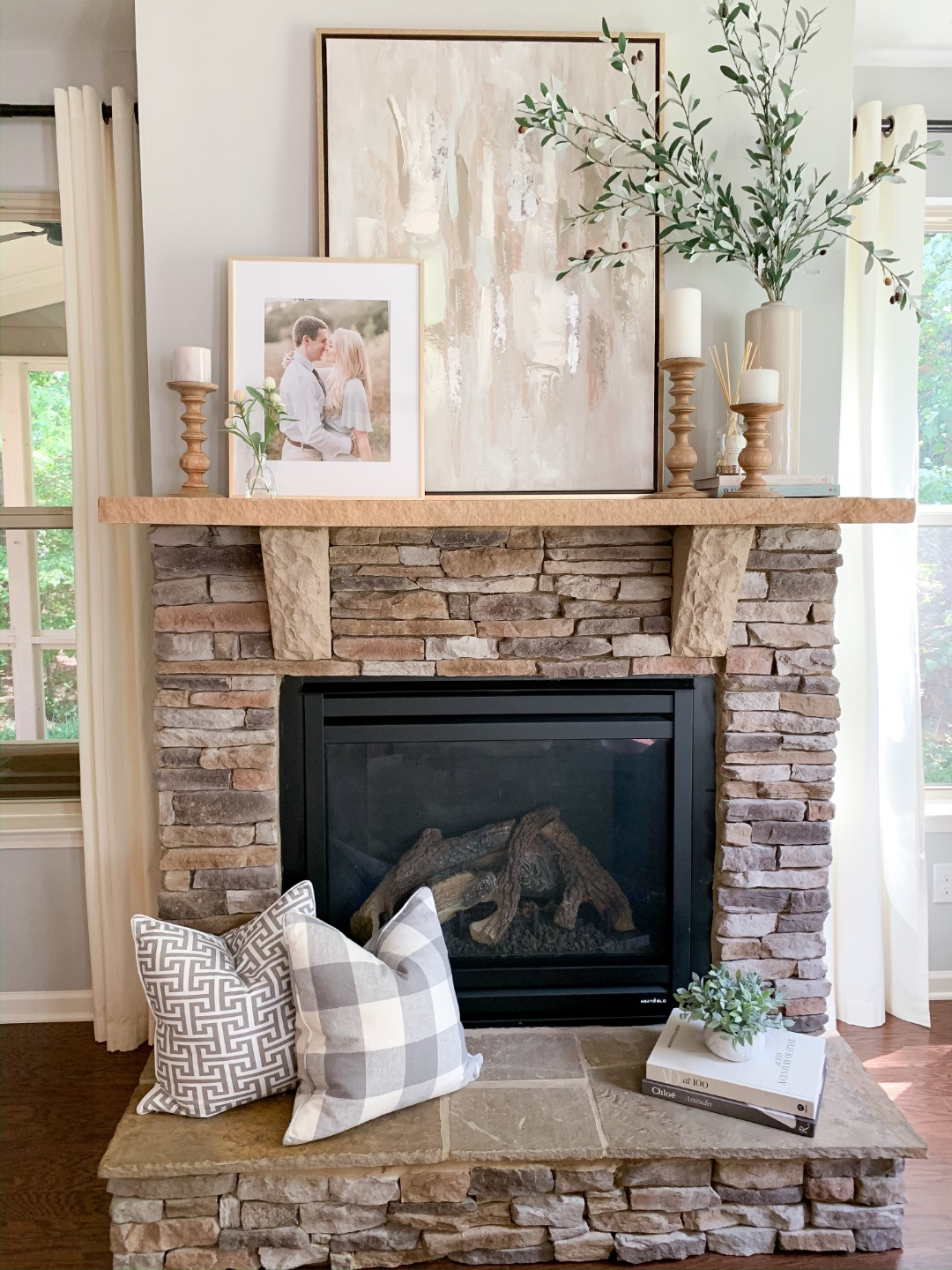 Neutral Fireplace Mantel Decor Ideas Strawberry Chic Amanda John Strawberry Chic