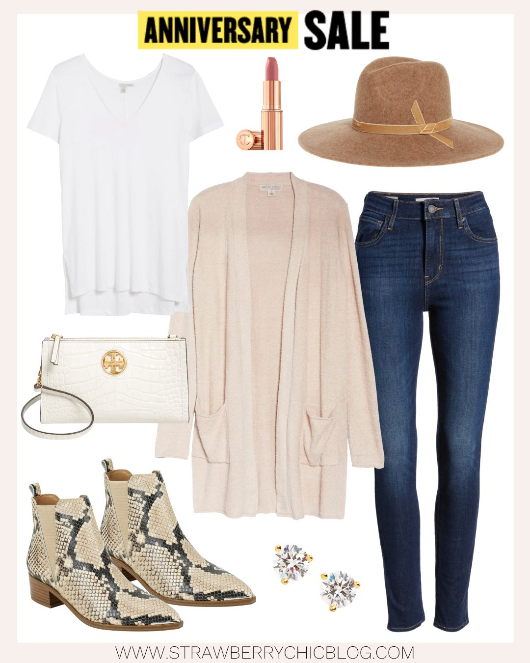 Fall Outfit ideas collage of women's clothes and accessories