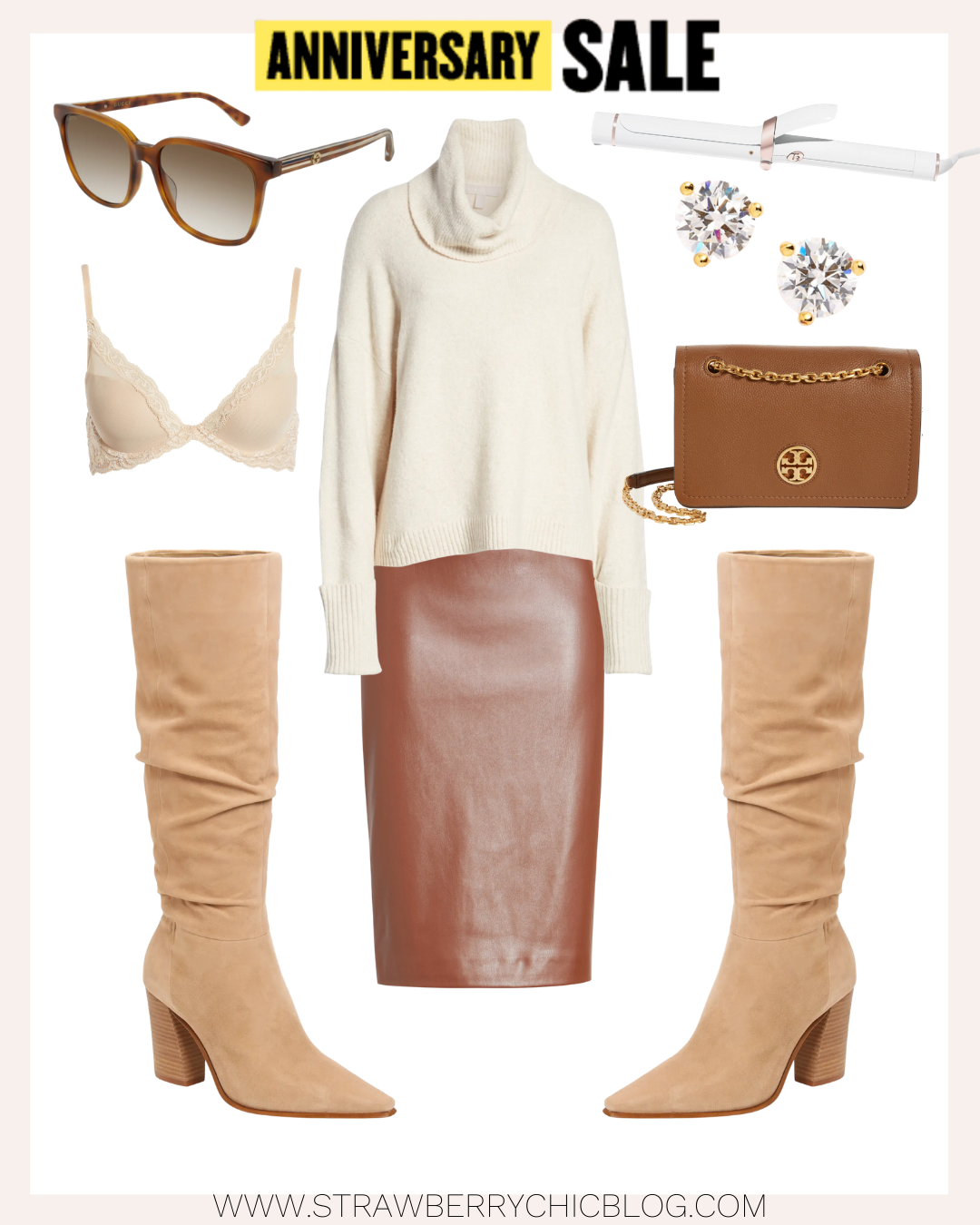 Fall Outfit ideas collage of neutral colors with accessories and clothes