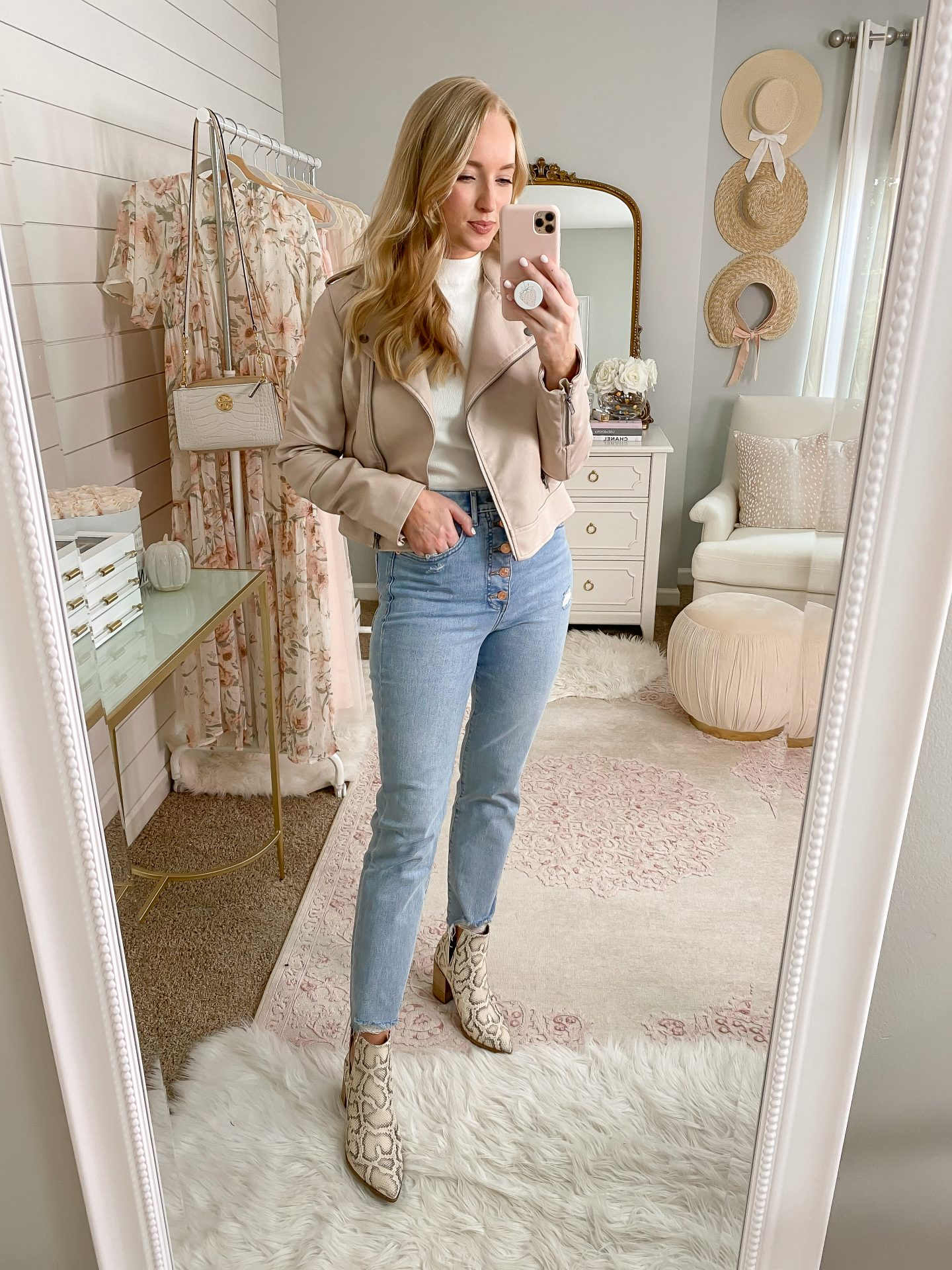 leather jacket and python booties