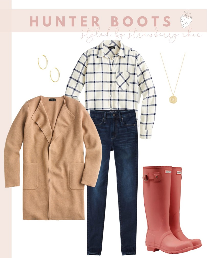 classic fall outfit with rain boots