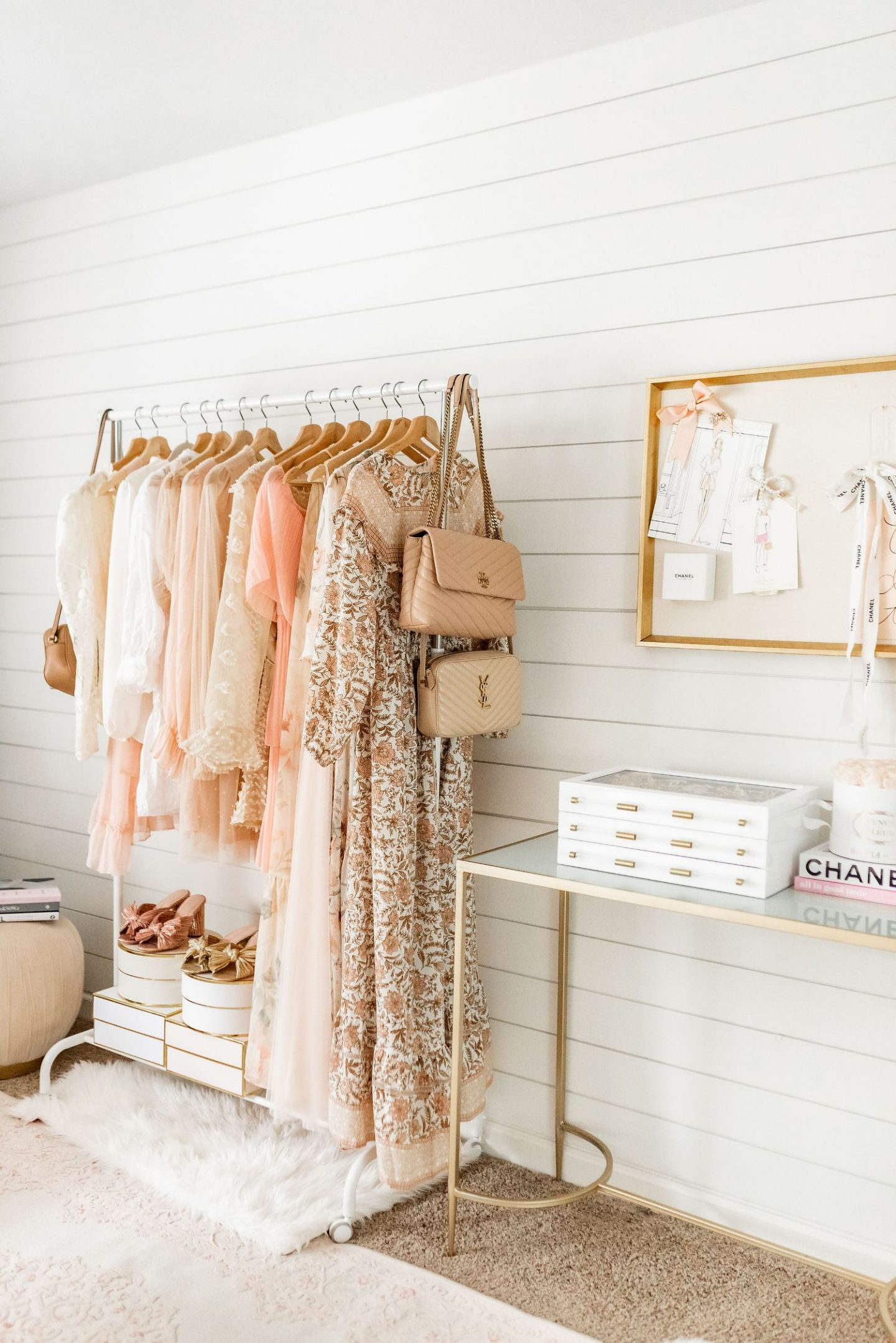 blush and gold office tour
