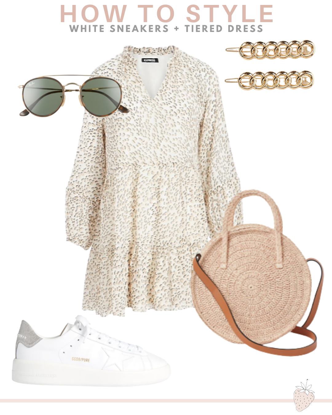 tiered dress and white sneakers