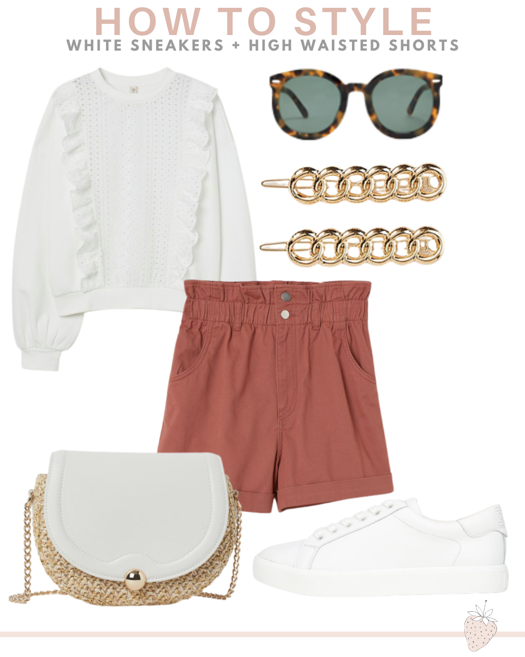 10 Ways To Style White Sneakers | high waisted shorts outfit