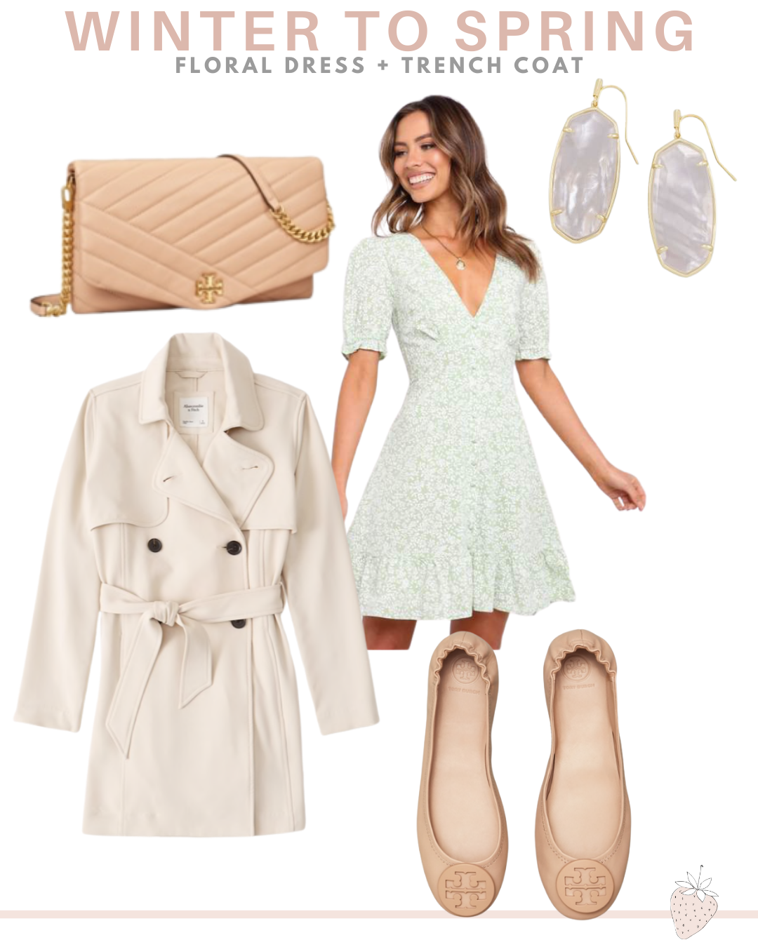 5 Transitional Winter to Spring Looks | floral dress and trench coat outfit