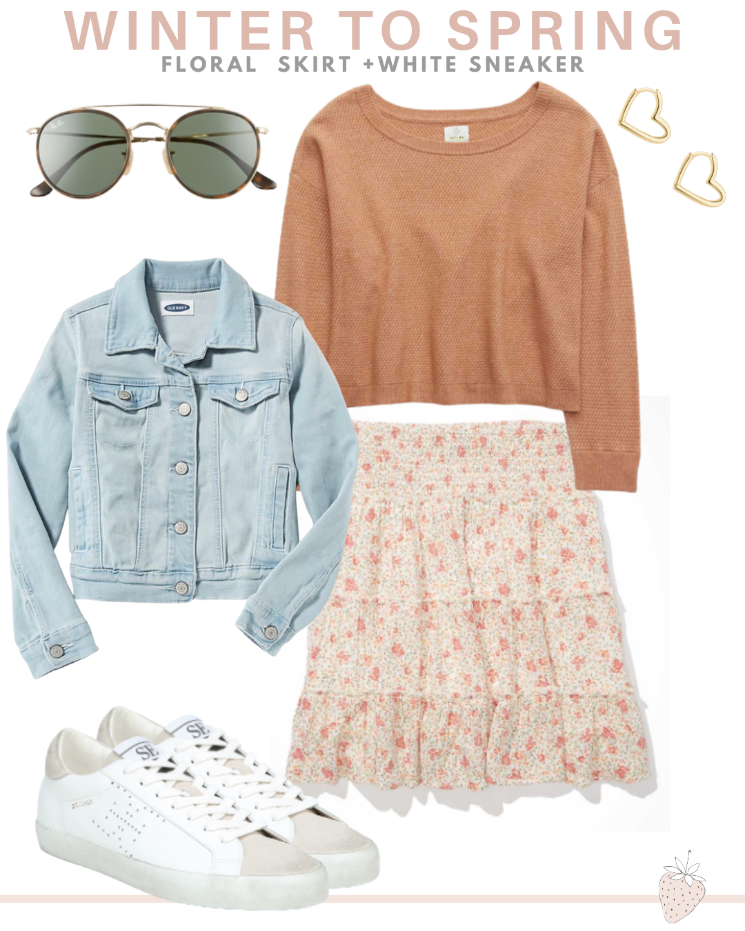 floral skirt and sneakers spring outfit