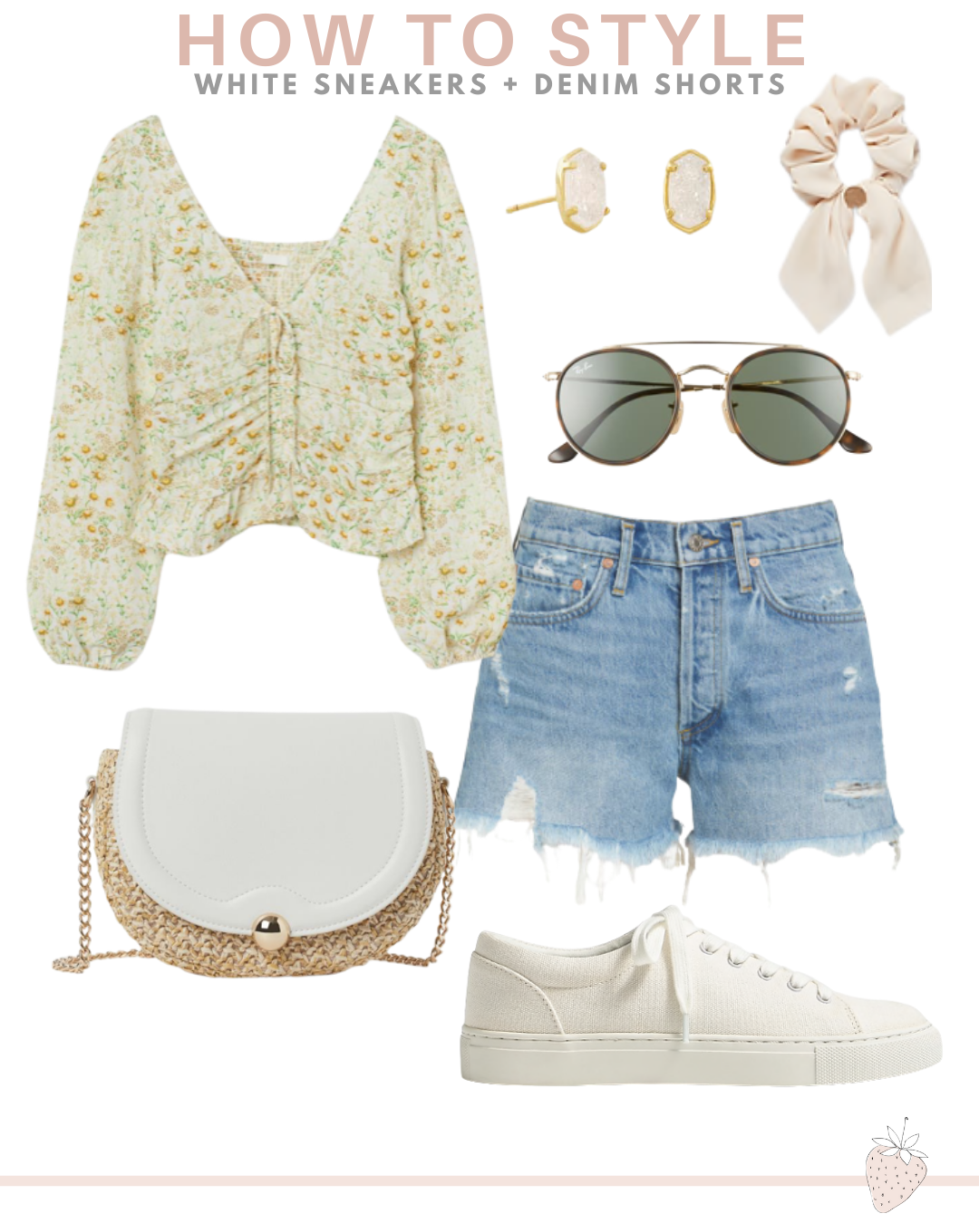 Different Ways To Style White Sneakers | denim shorts and sneakers outfit