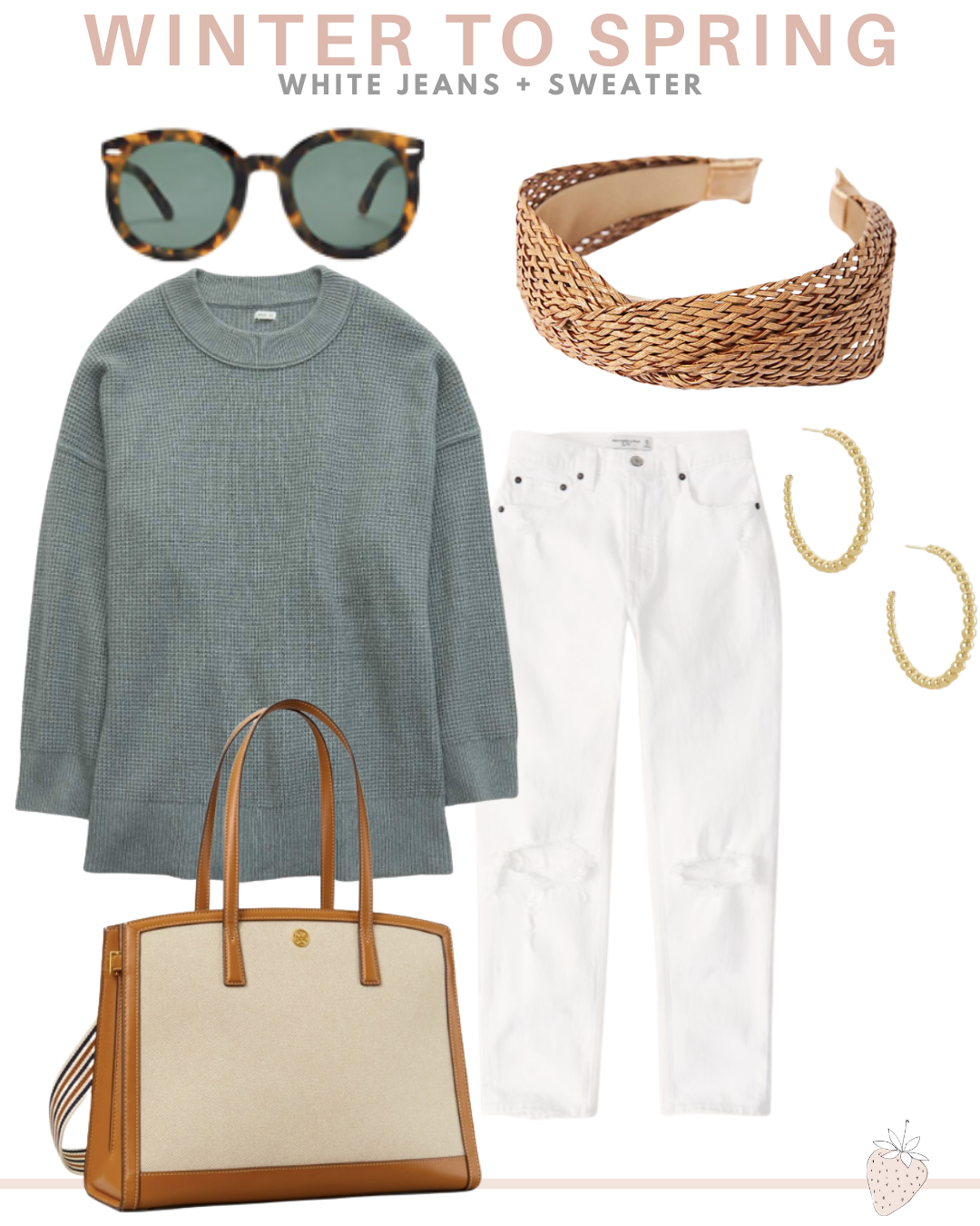 white jeans and sweater spring outfit