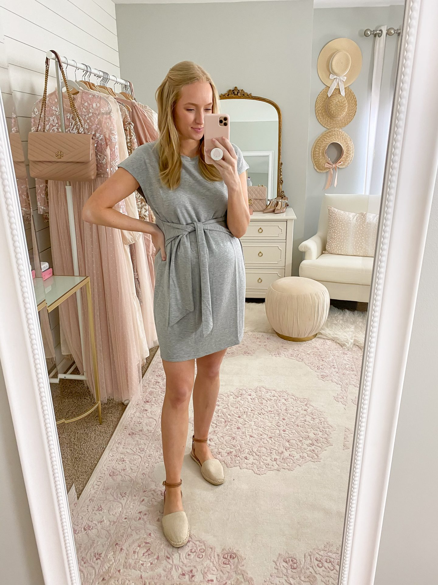 Woman wearing a grey tshirt dress and espadrilles Best Spring Shoes Under $40