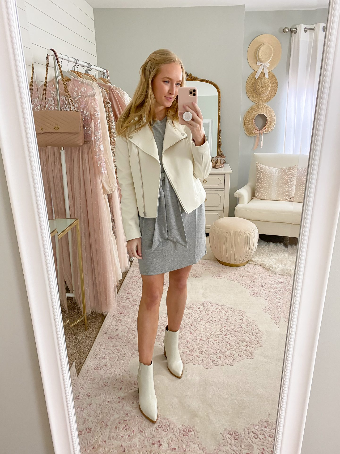 tie dress and white leather jacket outfit