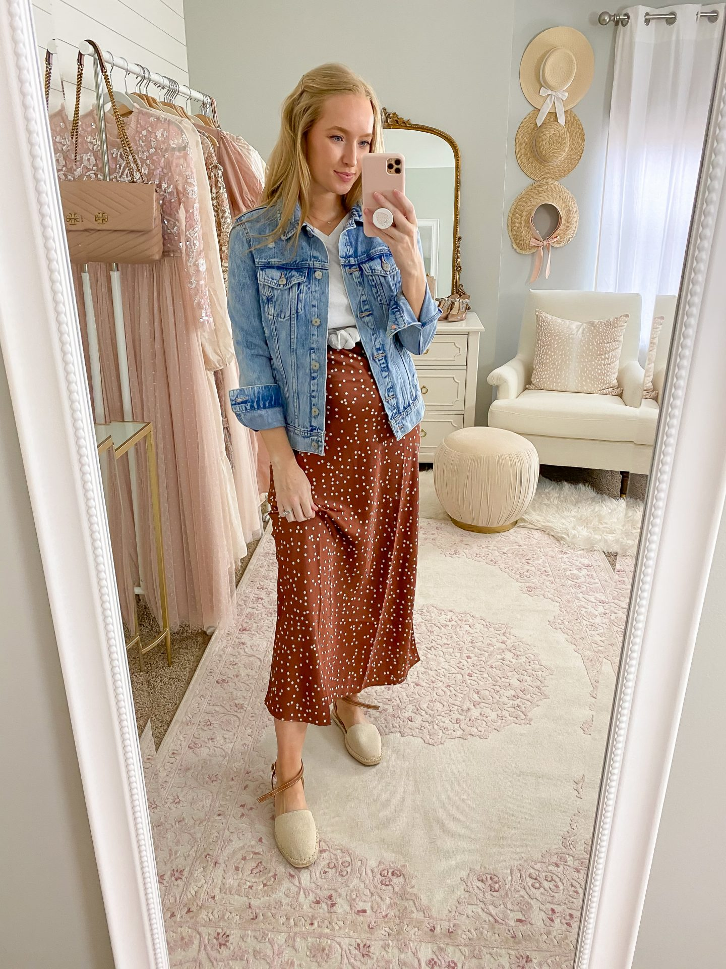 woman wearing polka dot midi skirt and Best Spring Shoes Under $40