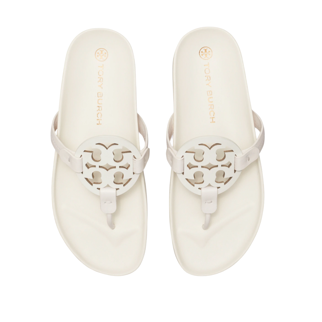 the Tory Burch Miller Cloud Sandals in white