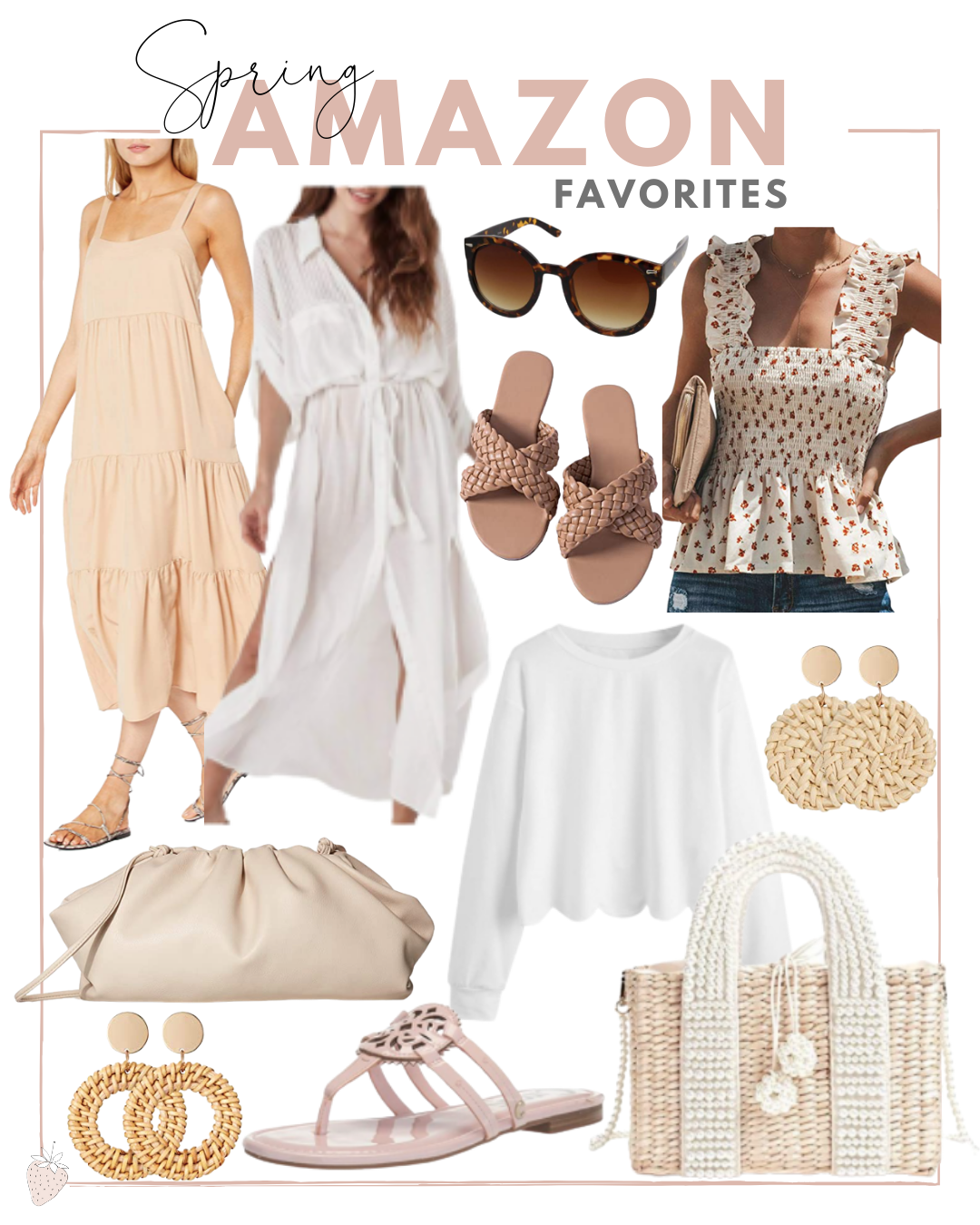 collage of clothes, sandals, and accessories for Amazon Finds for Spring