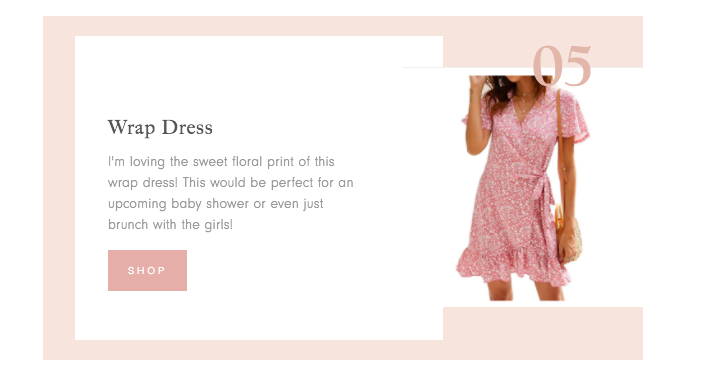 collage of woman wearing pink wrap dress and a description of the product for Amazon Finds for Spring