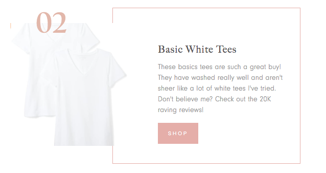 collage of white tees and product description for Amazon Finds for Spring