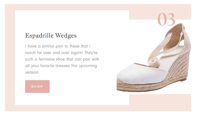 Amazon Finds for Spring collage of espadrille wedges and the product descrption