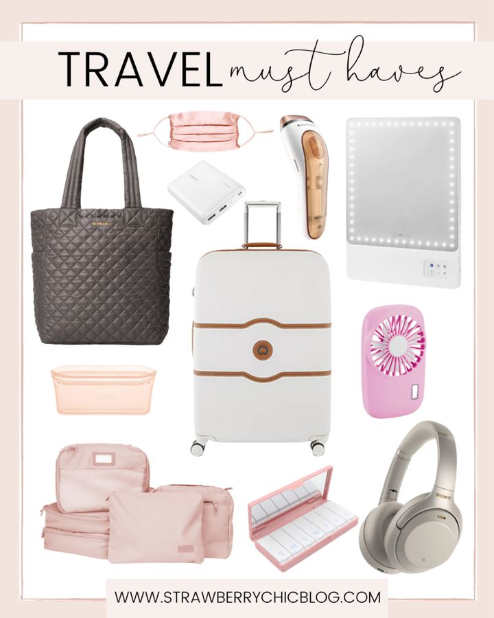 babymoon packing list collage of travel must-have items such as fan, headphones, mirror, and power bank