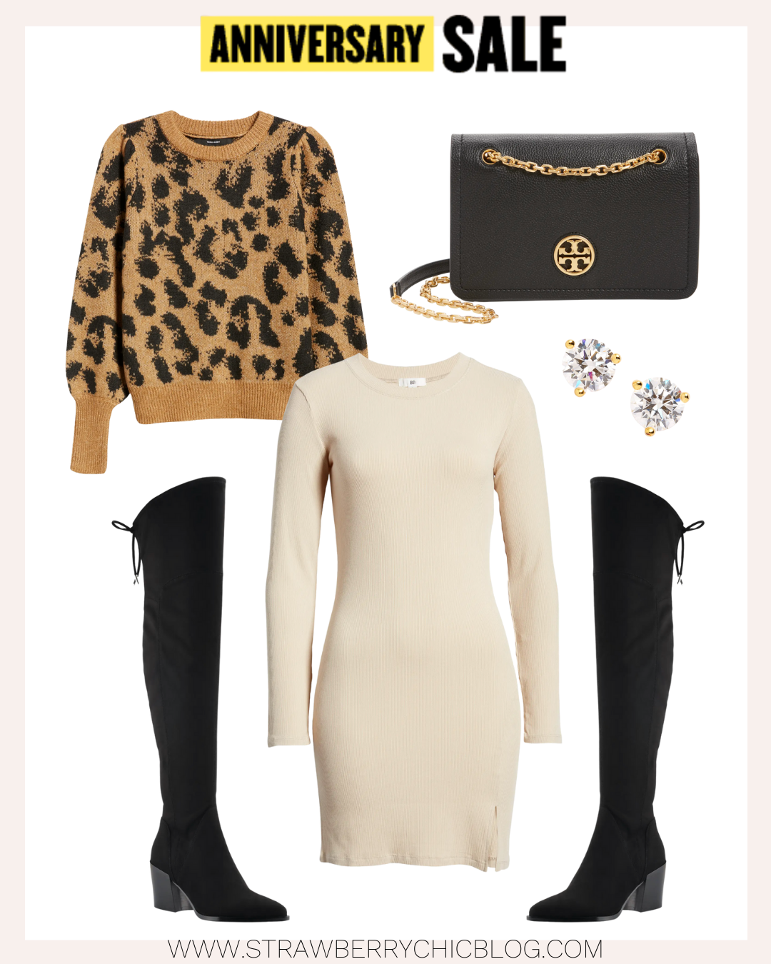 Over-the-knee boots and sweater dress outfit