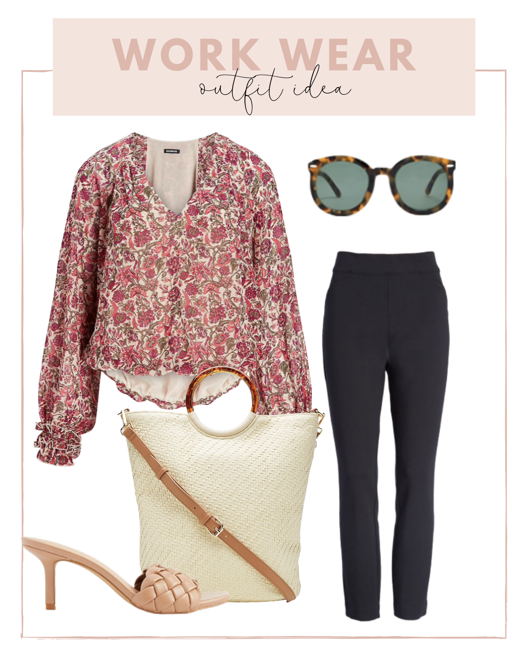Work Wear Outfit with Black Ankle Pants