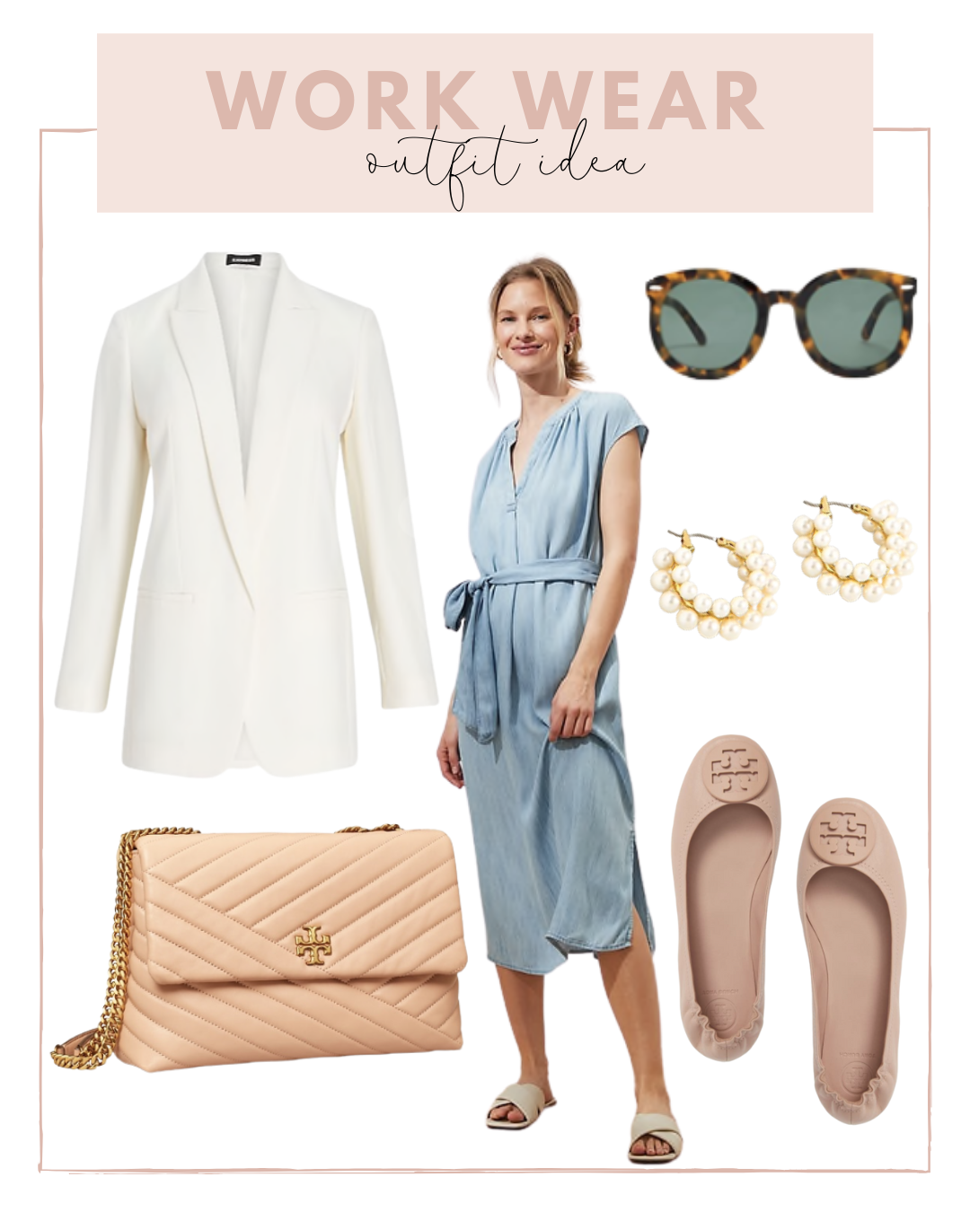 Summer Work Wear Look with a Chambray Dress