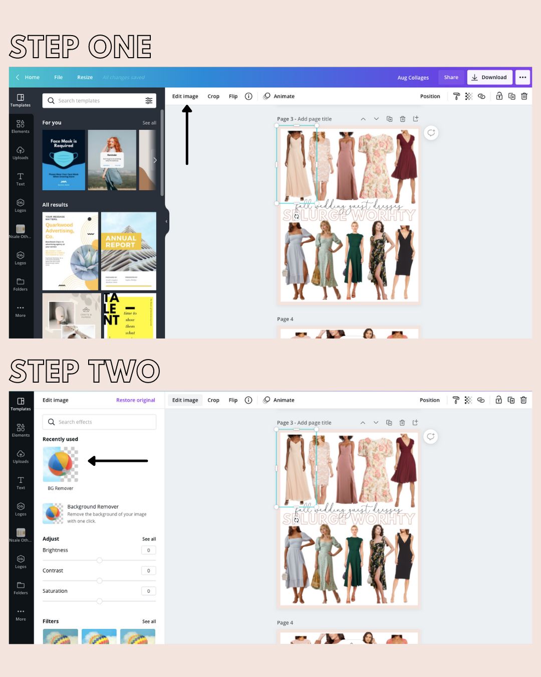 How to remove background of images on canva, How To Make Collages in Canva