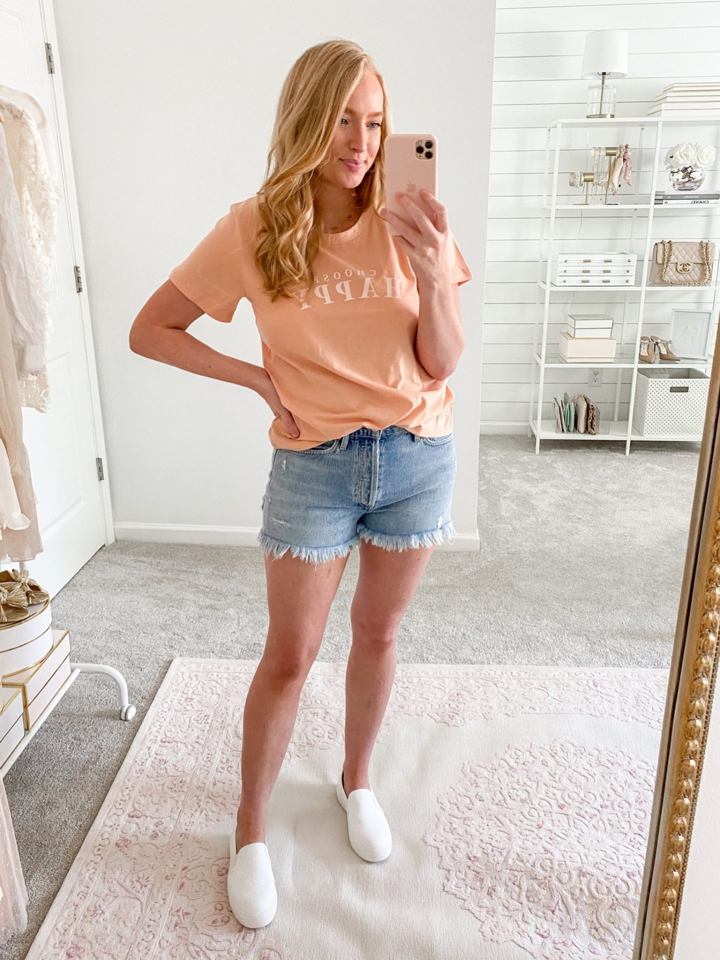 10 easy summer travel outfits   Denim Shorts with a Basic Tee