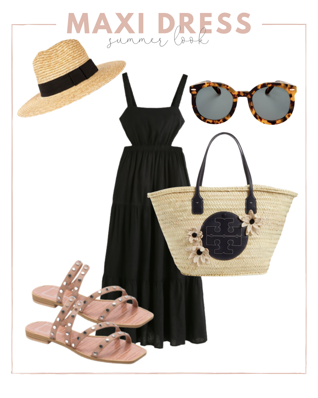 how to wear a black maxi dress in the summer