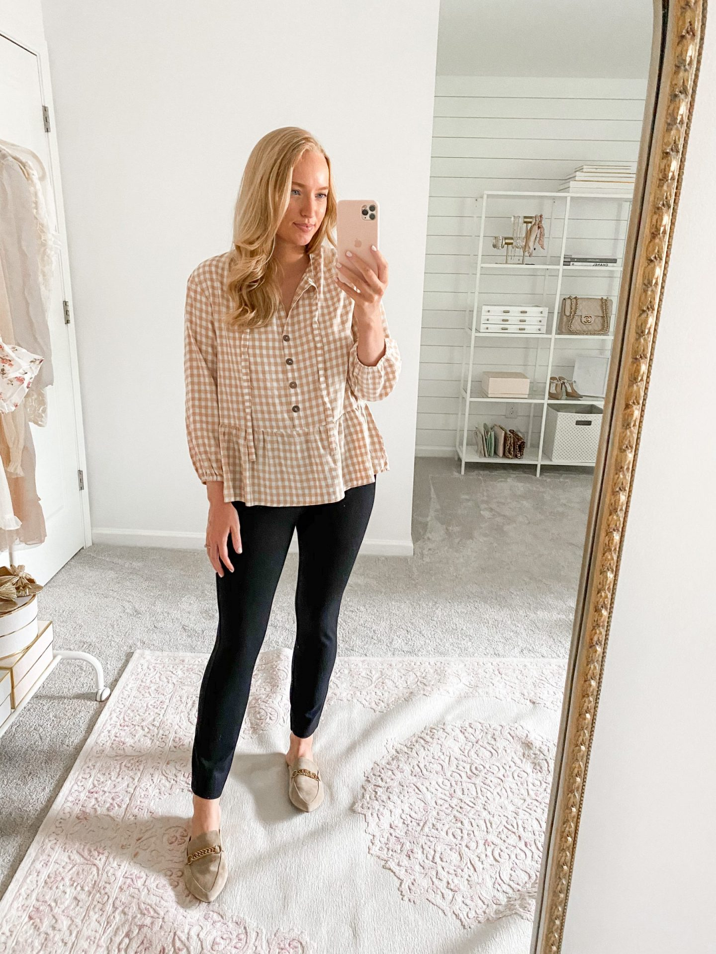 best fall outfits for work   Gingham Top with Black Ankle Pants