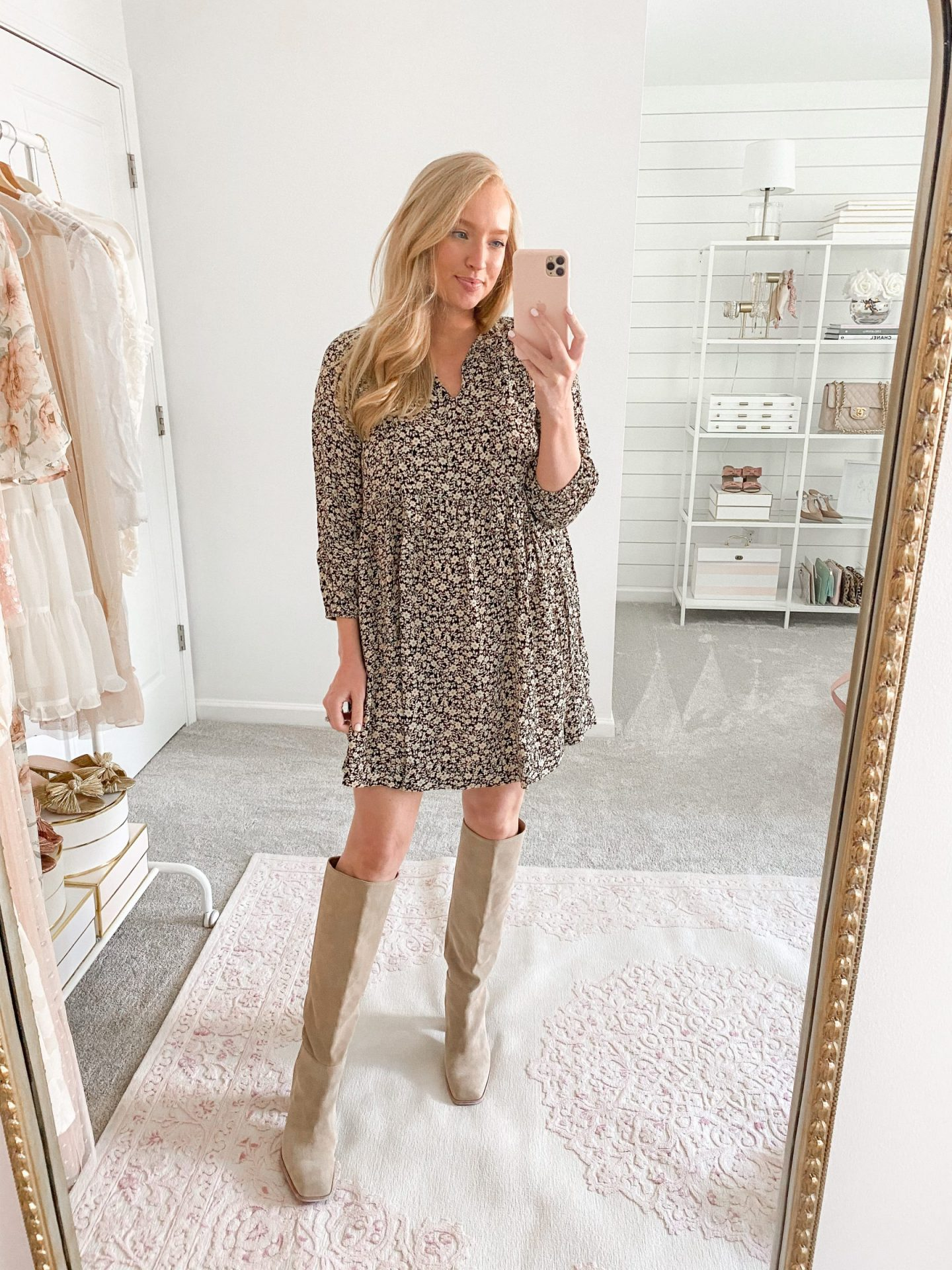 Floral dress fall outfit idea
