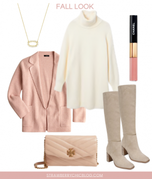 Chic pink fall outfit